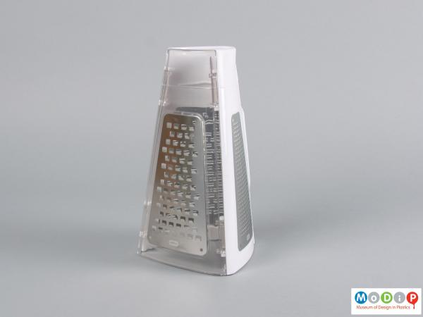 Side view of a grater showing the triangular shape.