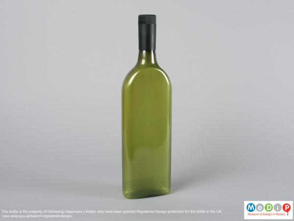 Front view of a bottle showing the rectangular shape.