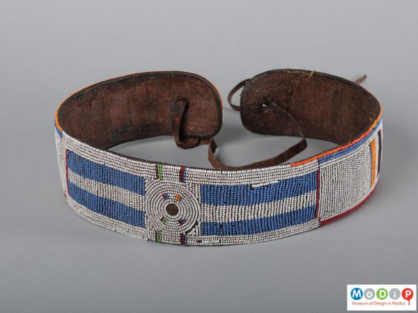 Front view of a belt showing the bead work.