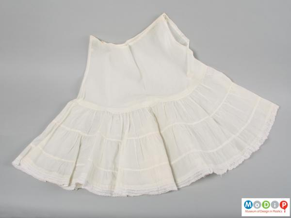 Front view of an underskirt showing the tiered design.