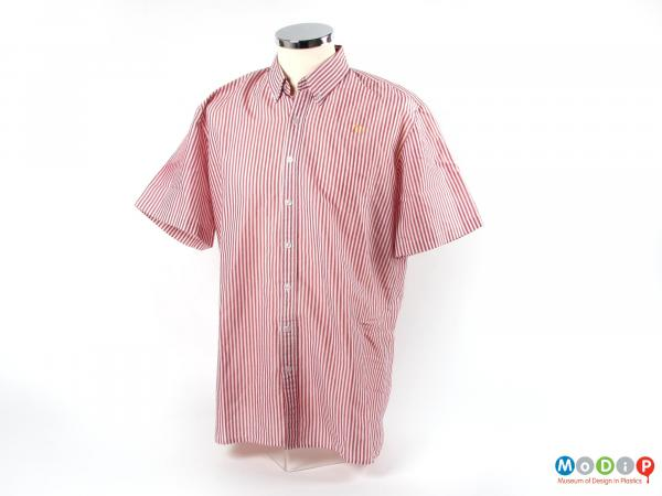 Front view of a shirt showing the button down collar.
