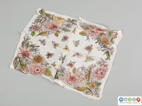 Front view of a handkerchief showing the printed pattern.