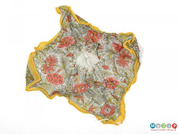 Front view of a handkerchief showing the pattern.