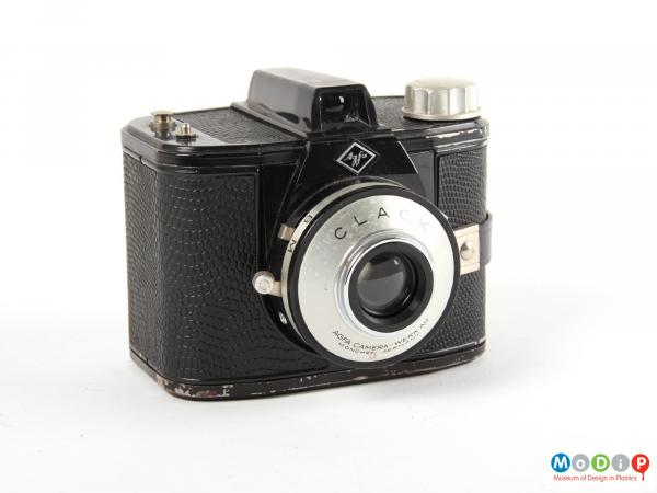 Front view of a camera showing the square shape.
