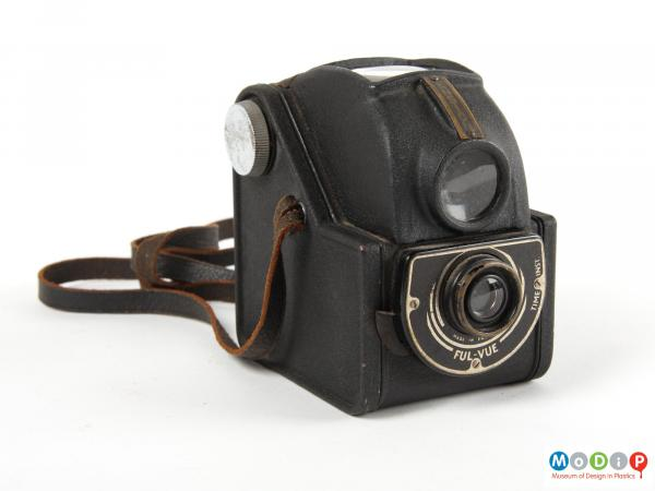 Front view of a camera showing the large view finder.