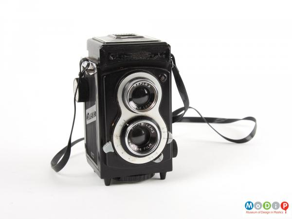 Front view of a camera showing the two lenses.
