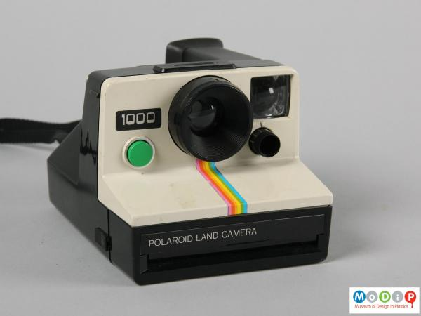 Front view of a camera showing the white front section.