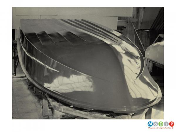 Scanned image showing the underside of a boat.