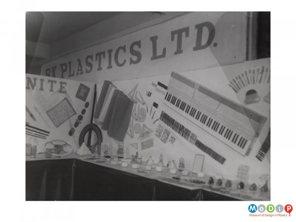 Scanned image showing a display of products.
