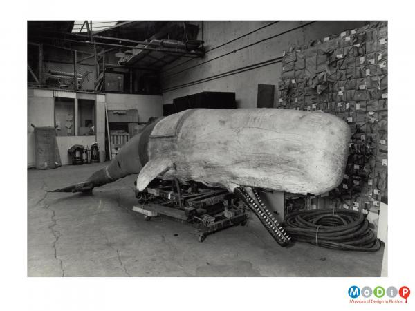 Scanned image showing a model of a whale.