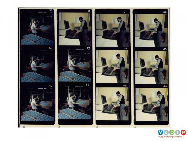 Scanned image showing an12 image contact sheet.