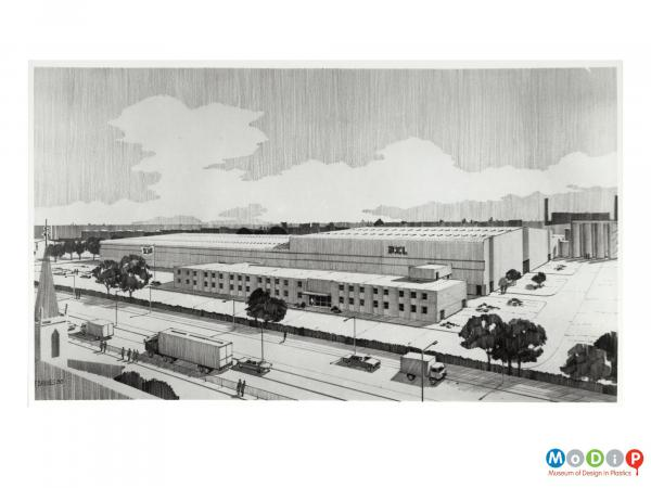 Scanned image showing a drawn image of a new factory.