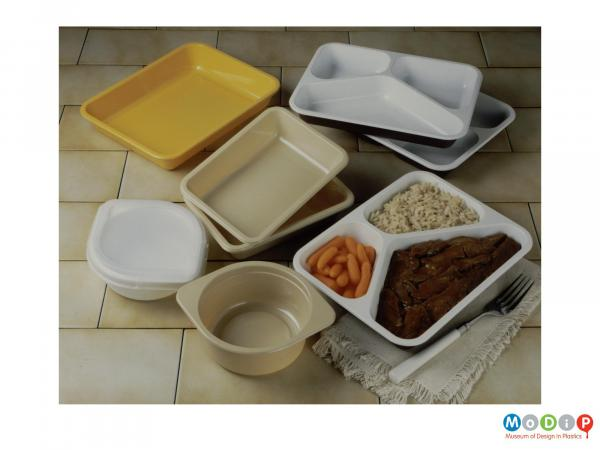 Scanned image showing a range of ovenable trays.