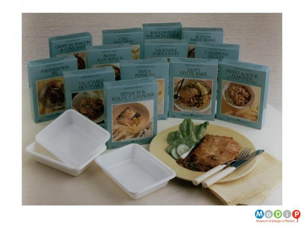 Scanned image showing a range of ready meals.