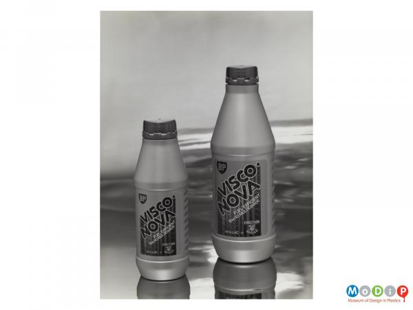 Scanned image showing 2 sizes of BP Visco Nova bottles.