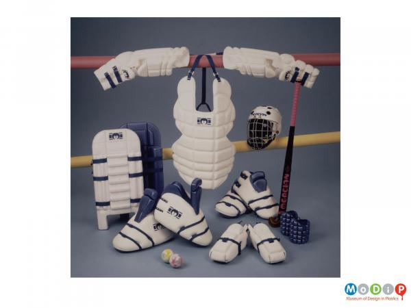 Scanned image showing a range of protective clothing for sports.