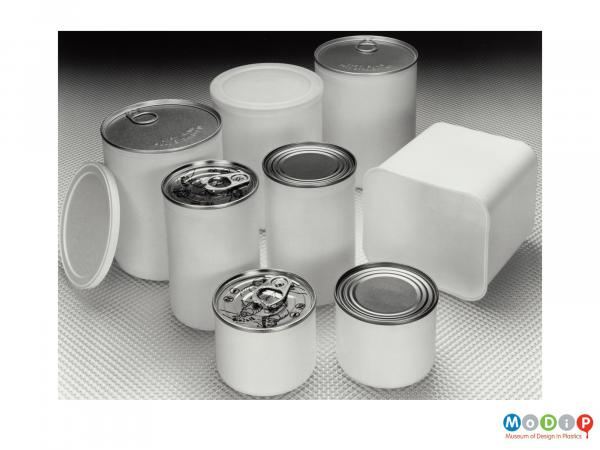 Scanned image showing a range of plastic containers.