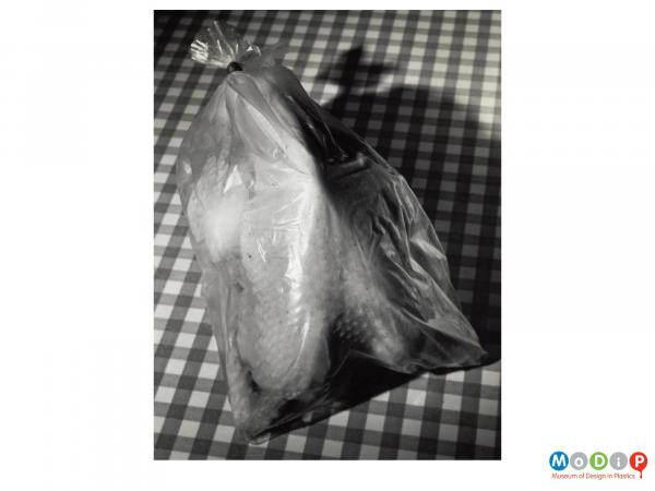 Scanned image showing a whole chicken in a bag.