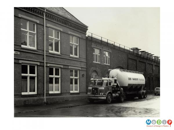 Scanned image showing a delivery tanker.