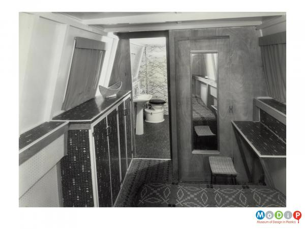 Scanned image showing the interior of a boat.