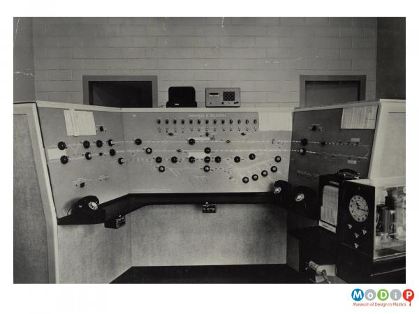 Scanned image showing a control desk.