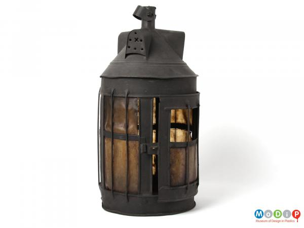 Side view of a lantern showing the closed door.