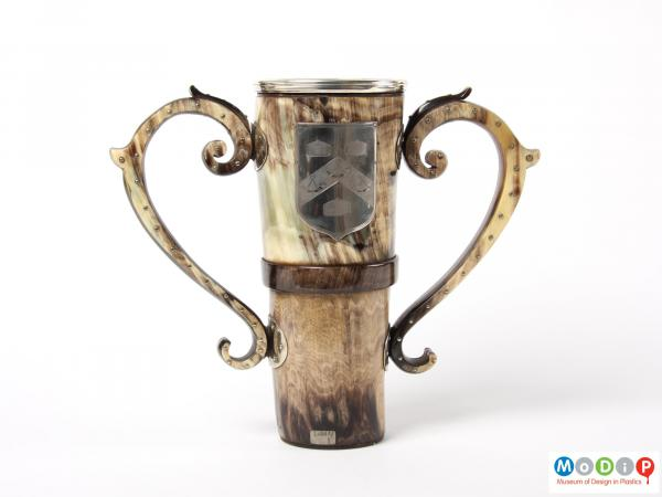 Side view of a loving cup showing the two handles.