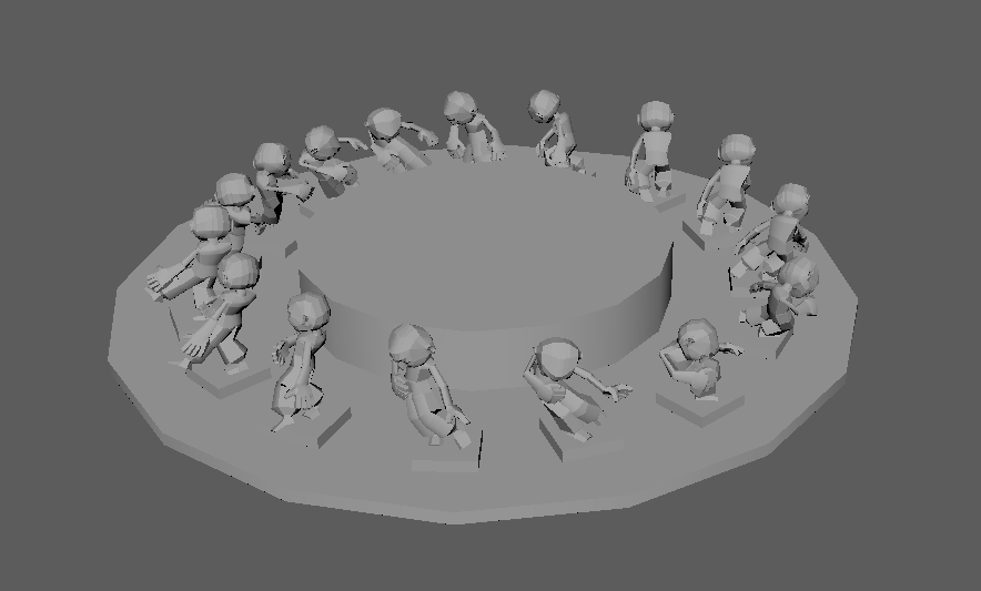 Models placed on the virtual zoetrope