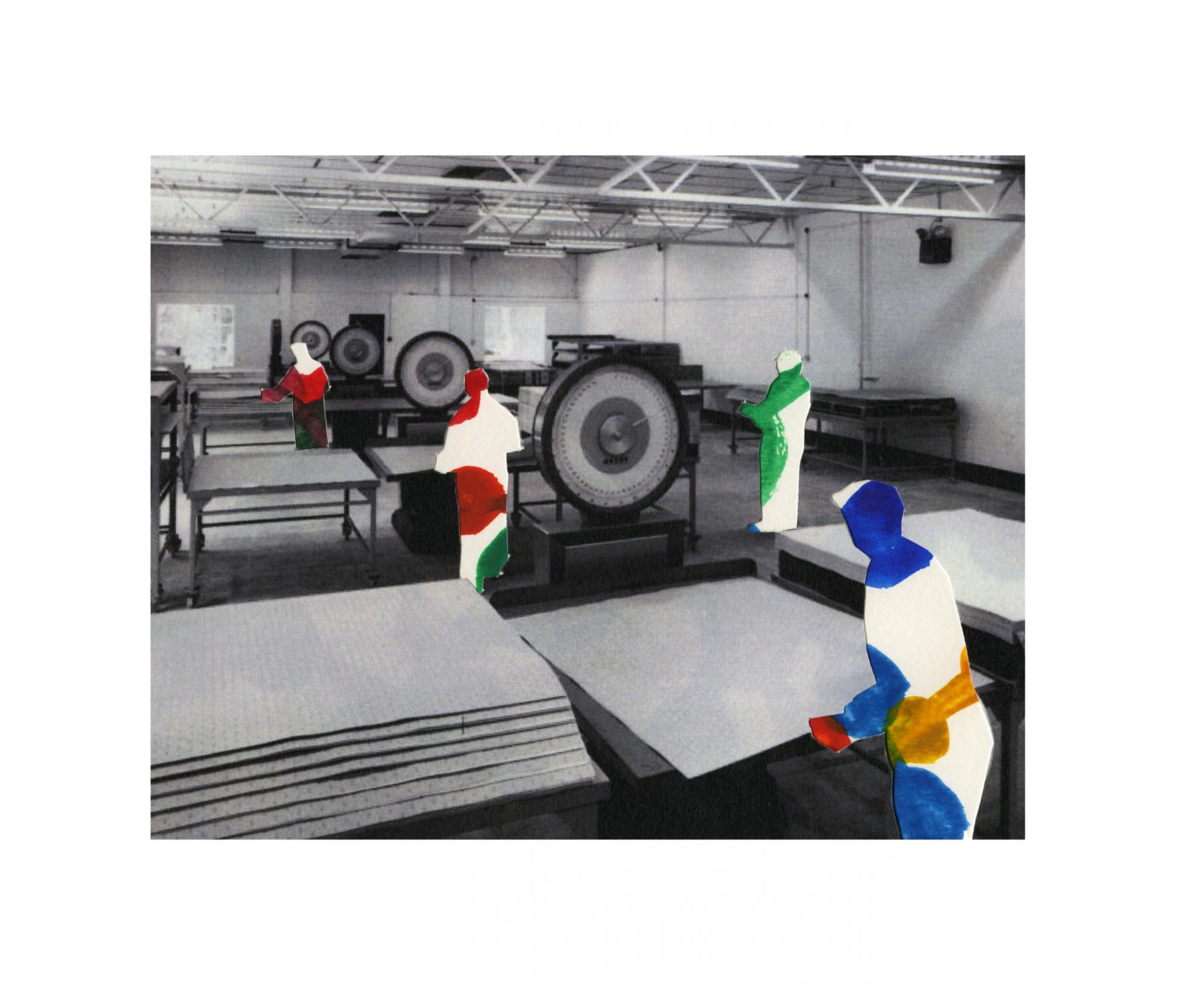 Aycliffe: weighing sheets of material. BXL. (Photograph). Cut out workers. Pattern inspired by Poppit Bead necklace.