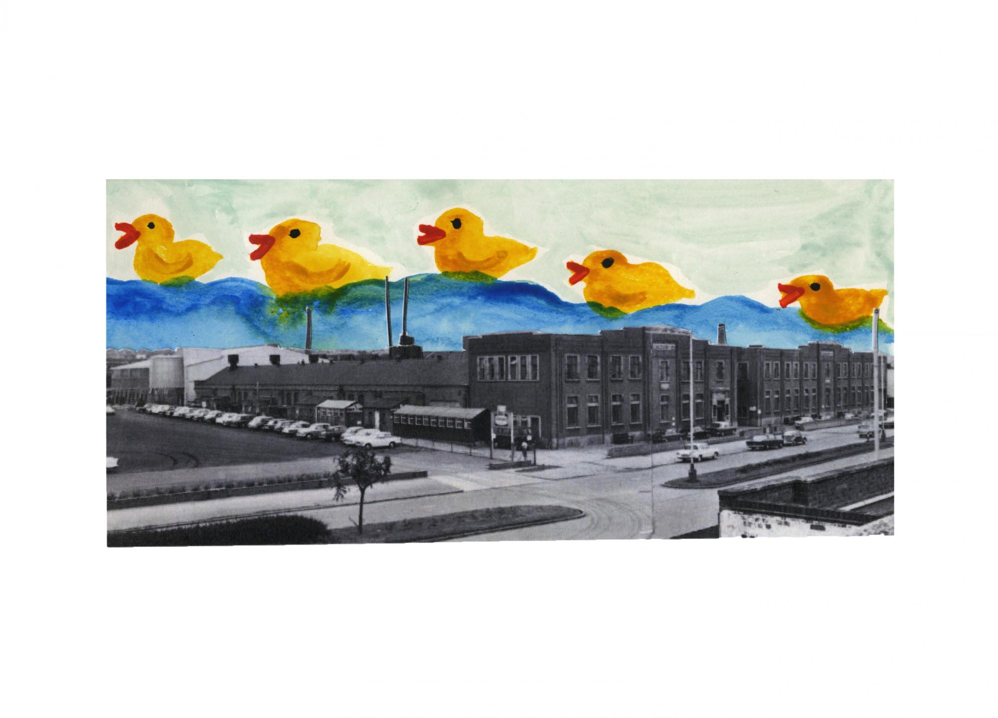 Abbey Lane, Leicester: Exterior. BXL. (photograph). Cut out sky with watercolour rubber ducks.