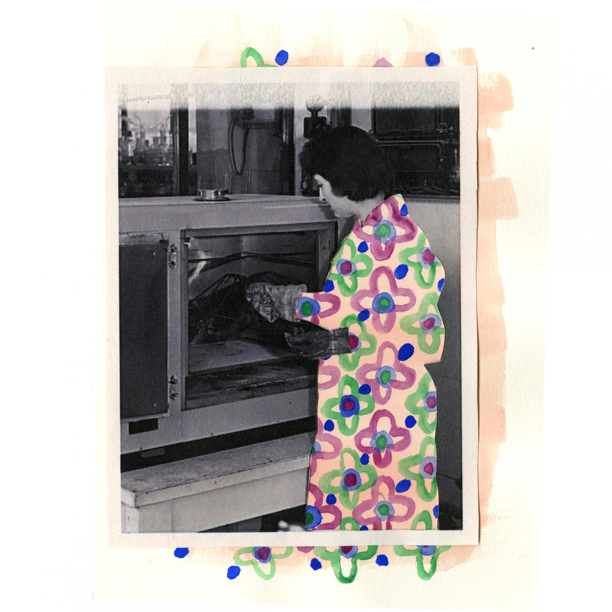 Photograph print depicting Dip coating polyethylene cut out with watercolour pattern behind.