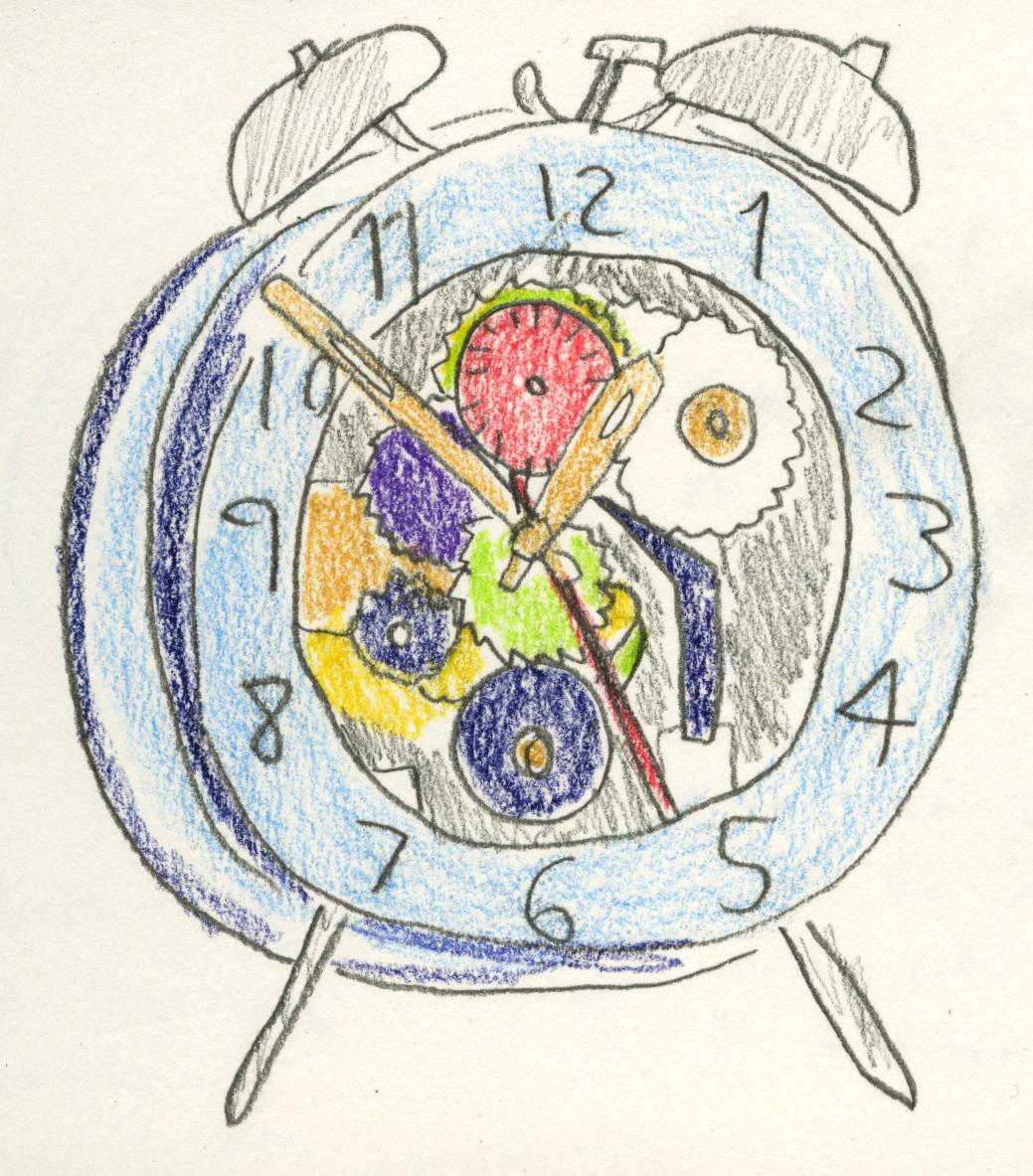 Coloured pencil sketch of the translucent clockwork alarm clock