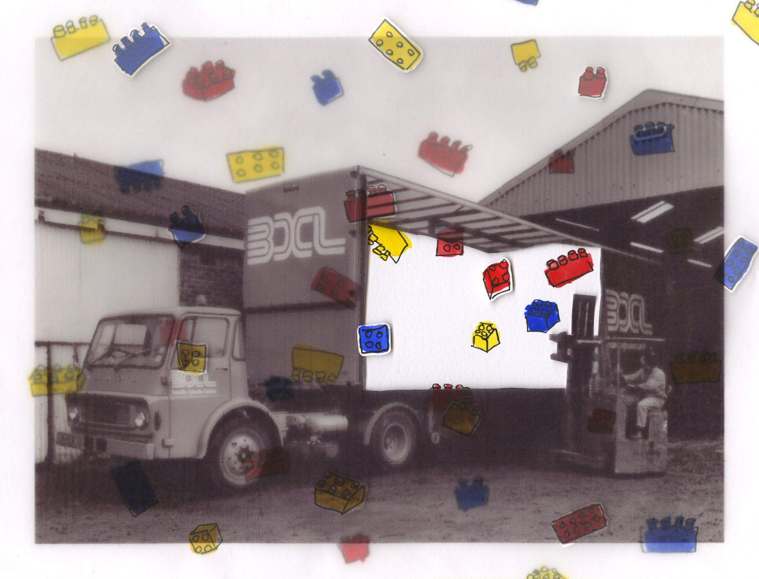 Plenmeller factory: bulk wrapping on lorry – BXL (photograph) on tracing paper. Cut out with watercolour painting behind with foam pads.