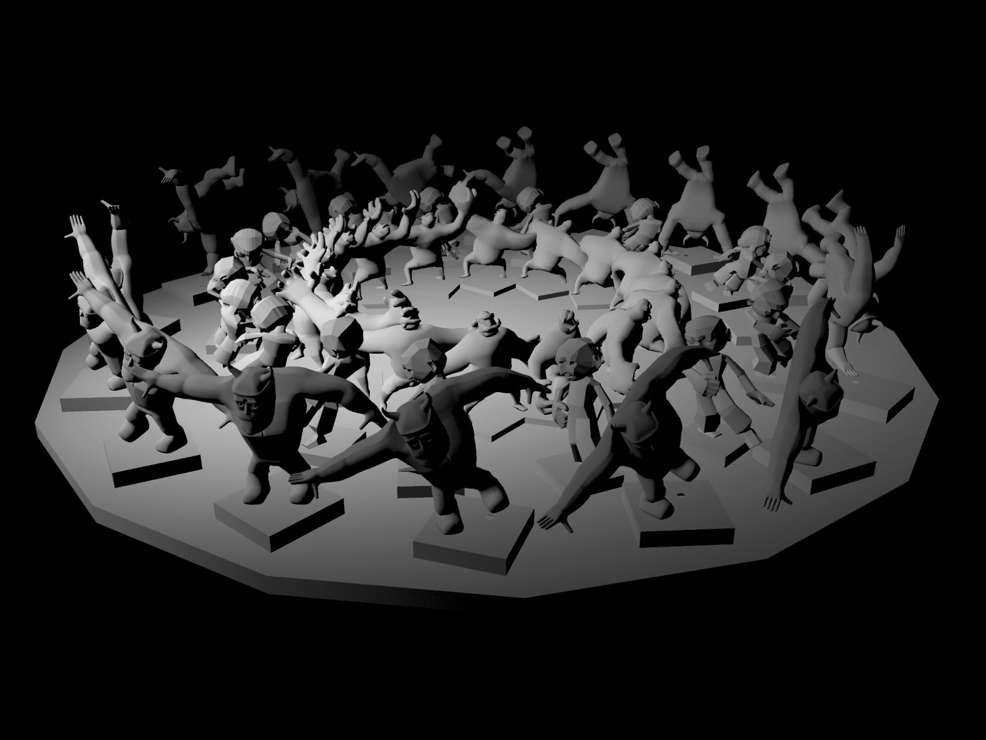 Screen capture of virtual zoetrope with additional character animations from Joe Derrick and Sam Elphick