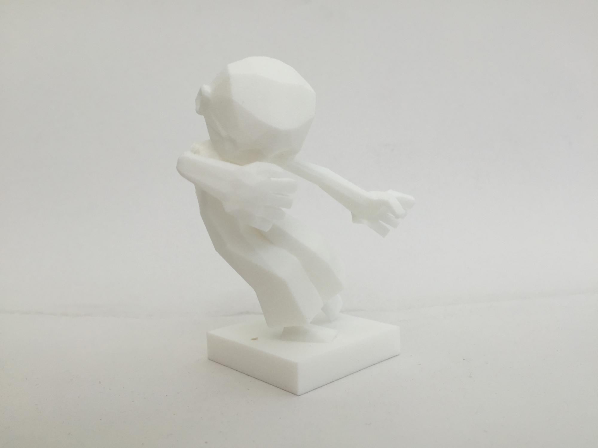 One 'frame' of the 3D animation 3D printed