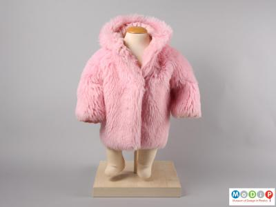 Front view of a pink hooded coat showing the plain front of the coat.