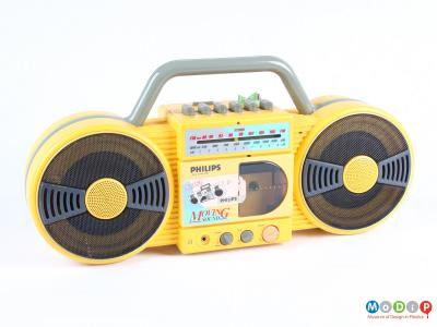 Front view of a cassette player showing the round speakers.