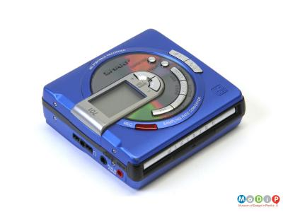 Side view of a MiniDisc player showing the control buttons on the front.