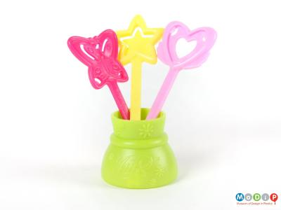 Front view of a Winx Club wand set showing the three wands standing in the pot.