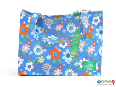 Front view of a bag showing the floral print.