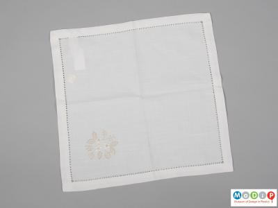 Front view of a napkin showing the square shape.