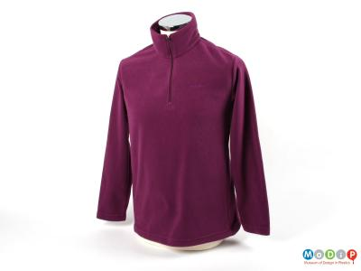 Front view of a fleece showing the short neck zip.