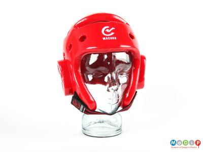 Front view of a head protector showing velcro chn strap.