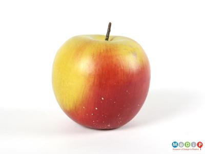 Side view of an apple showing the natural effect of the colouring.