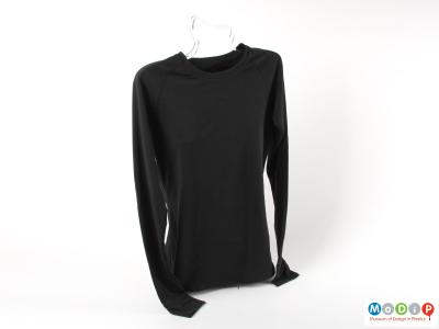 Front view of a shirt showing the round neckline.