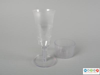 Side view of a pop up glass showing the extended glass.