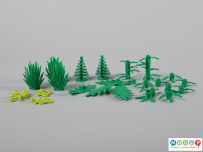 Side view of a Lego set showing all the plants.