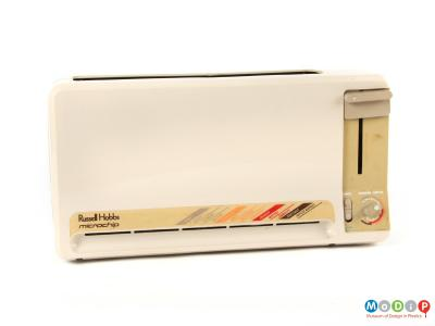 Front view of a Russell Hobbs toaster showing the controls on the right.