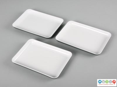 Top view of a set of 3 BOAC plates showing the white interior surfaces.