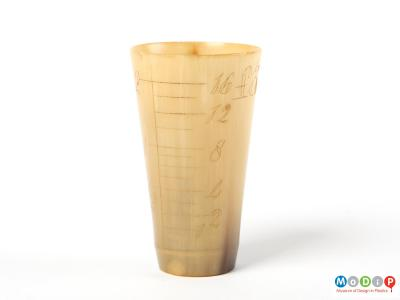 Side view of a beaker showing the measurement markings.